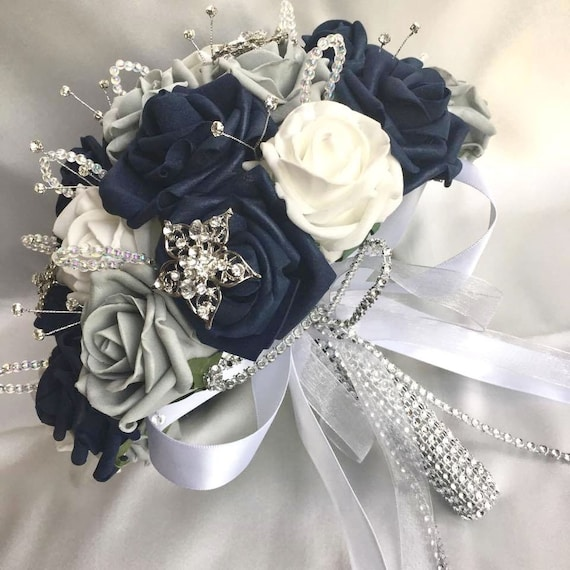 Artificial Wedding Flowers, Brides Posy Bouquet with Navy Blue, Grey and White Roses with brooches, crystals and diamantes