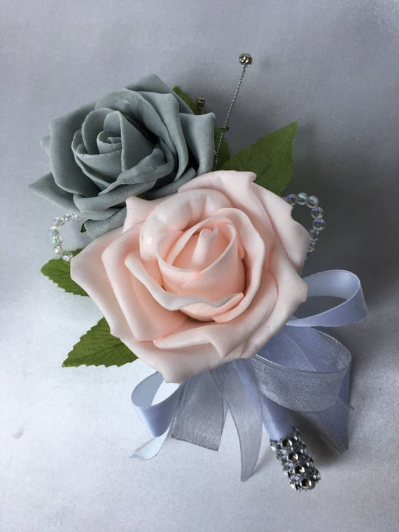Artificial Wedding Flowers, Buttonholes, Boutonnieres, Ladies Corsage, Baby Pink and Grey Roses with crystals and diamantes