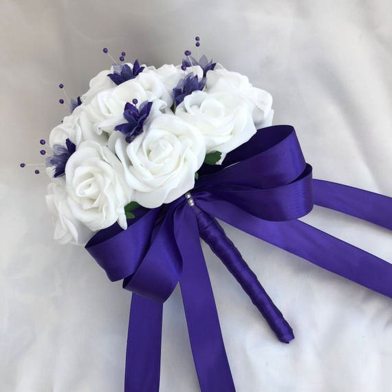 Artificial Wedding Flowers, Brides, Bridesmaids, flower girls Posy Bouquet with White Roses, Purple Babies Breath