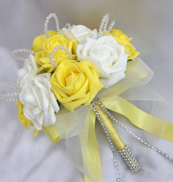 Artificial Wedding Flowers, Brides, Bridesmaids, Flower girls Posy Bouquet with Yellow and White Roses with crystal loops
