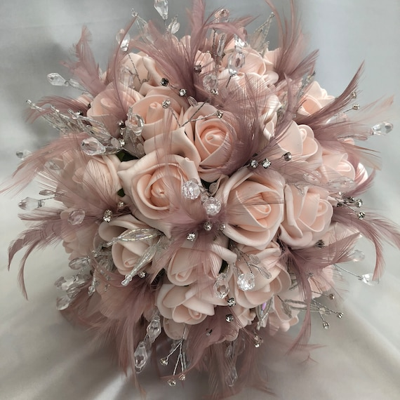 Artificial Wedding Bouquet, Brides, Bridesmaids, Posy Bouquet with Baby Pink Roses, Mink Feathers, Diamantes and Crystals