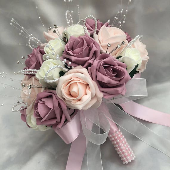 Artificial Wedding Flowers, Brides, Flowergirls, Bridesmaids, Posy Bouquet with Baby Pink, Vintage Pink & Ivory Roses, pearls and diamantes