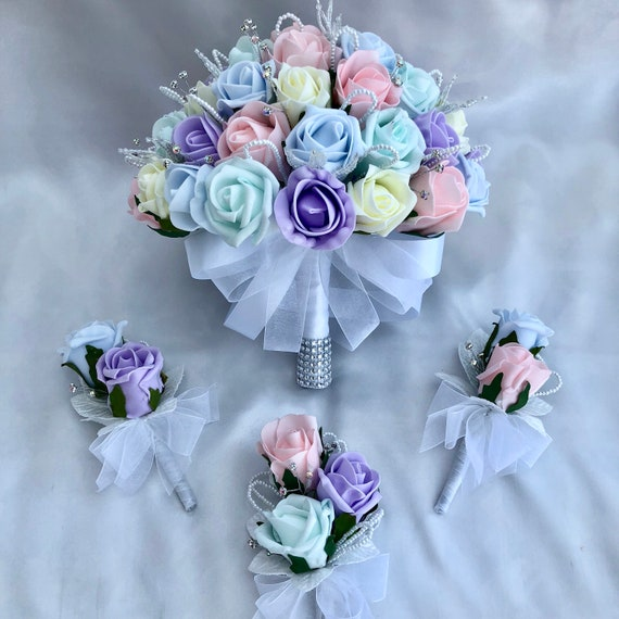 Artificial Wedding Flowers, Brides Bouquet, Buttonholes, Ladies Corsage, Pastel Colours, Unicorn, Pink, Lilac, Mint Green, Blue, Lemon Roses