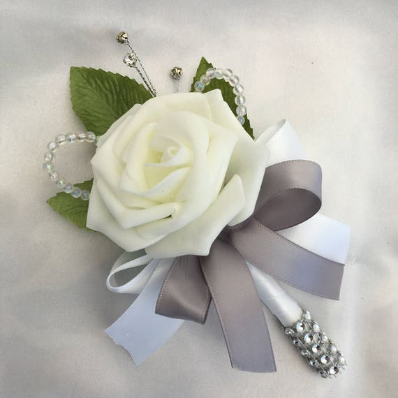 Artificial Wedding Flowers, Buttonholes, Boutonnieres, Ladies Corsage, Ivory Roses with crystals and diamantes