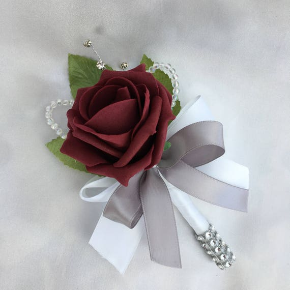Artificial Wedding Flowers, Buttonholes, Boutonnieres, Ladies Corsage, Burgundy Roses with crystals and diamantes