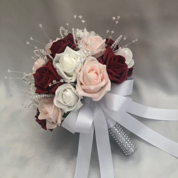 Artificial Wedding Flowers, Brides Posy Bouquet with Baby Pink, Red & white Roses, crystals and pearls and diamante sprays