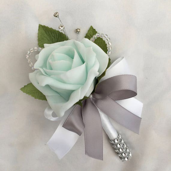 Artificial Wedding Flowers, Buttonholes, Boutonnieres, Ladies Corsage, Mint Green Roses with crystals and diamantes