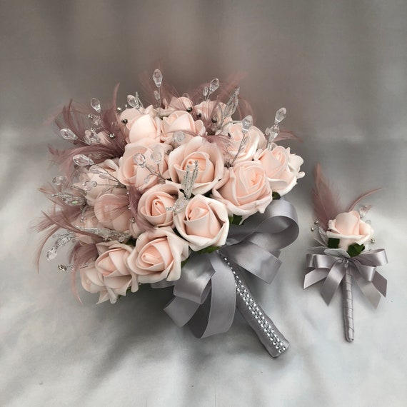 Artificial Wedding Flowers, Brides or Bridesmaids Posy Bouquet + 1 Rose Buttonhole, Baby Pink Roses, Mink Feathers, Diamantes, Crystals