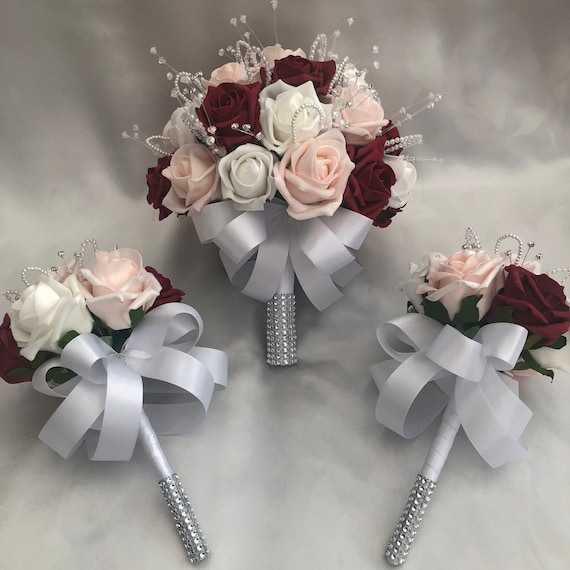 Artificial Wedding Flowers, Brides Posy Bouquet with 2 Flower girls bouquets, Baby Pink, Red, white Roses, crystals, pearls, diamantes