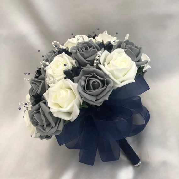Artificial Wedding Flowers, Brides Posy Bouquet, Grey and Ivory Roses, pearl loops, navy blue babies breath