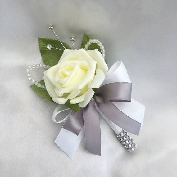Artificial Wedding Flowers, Buttonholes, Boutonnieres, Ladies Corsage, Lemon Roses with crystals and diamantes