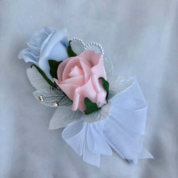 "Artificial Wedding Flowers, Ladies Corsage, Buttonhole, Boutonniere, Baby Pink and Baby Blue Roses, Diamantes ""ANY COLOUR AVAILABLE"""
