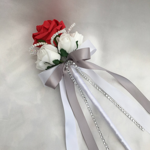 Artificial Wedding Flowers, Flower girls, Bridesmaids, Wand, Red and White Roses with crystals