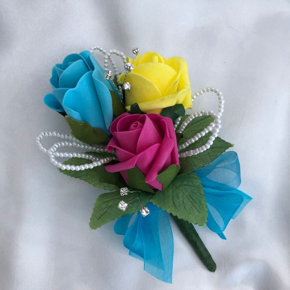 Artificial Wedding Flowers, Ladies Corsage, Buttonhole, Boutonniere, Rainbow Colours, Pride, Roses, Diamantes, Pearls. ANY COLOURS AVAILABLE