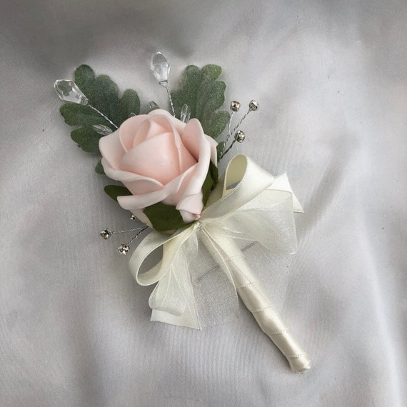 Artificial Wedding Flowers, Ladies Buttonhole, Boutonniere, Corsage, Baby Pink Roses, Green Foliage, Diamantes and Crystals