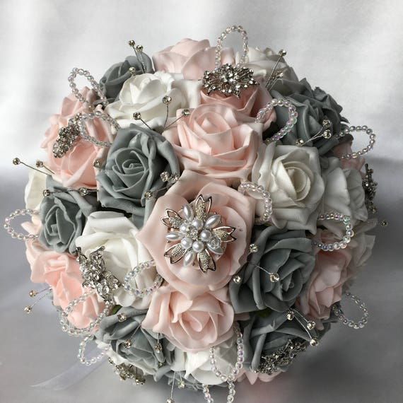 Artificial Wedding Bouquet, Brides Posy Bouquet with Baby Pink, Grey and White Roses with brooches, crystals and diamantes
