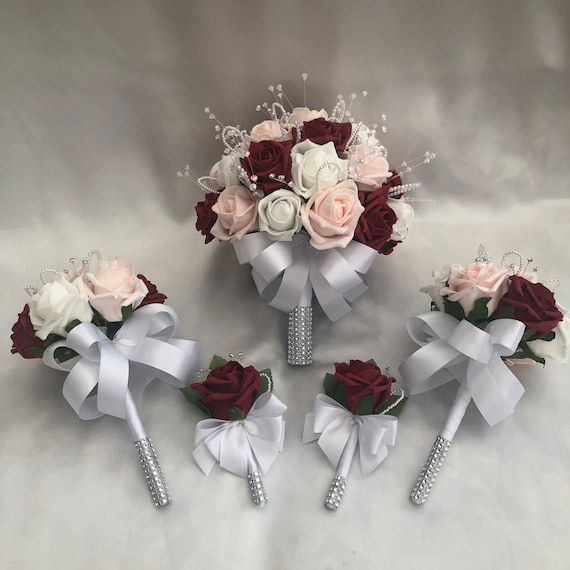 Artificial Wedding Bouquets, Packages, Brides Posy Bouquet, 2 Flower girls, 2 Rose Buttonholes, Baby Pink, Red, white Roses, Diamantes