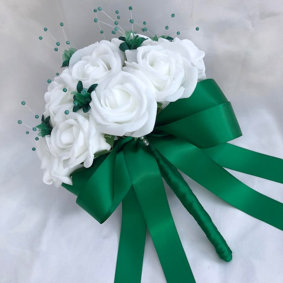 Artificial Wedding Flowers, Brides, Bridesmaids, flower girls Posy Bouquet with White Roses, Bottle Green Babies Breath