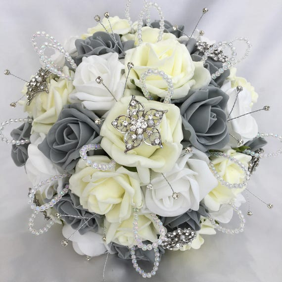 Artificial Wedding Bouquet, Brides Posy Bouquet with Lemon, Grey and White Roses with brooches, crystals and diamantes