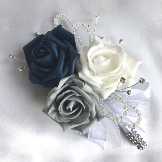 Artificial Wedding Flowers, Buttonholes, Boutonnieres, Ladies Corsage, Navy Blue, White and Grey Roses with crystals and diamantes