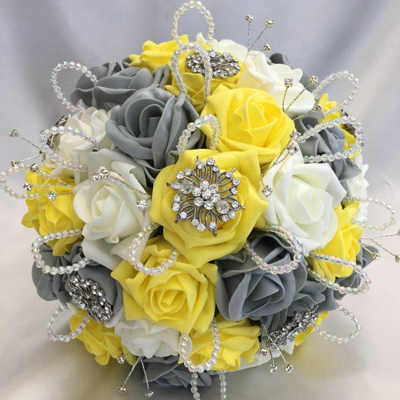 Artificial Wedding Bouquet, Brides Posy Bouquet with Yellow, Grey and Ivory Roses with brooches, crystals and diamantes