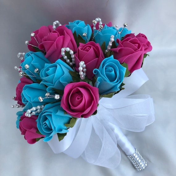 Artificial Wedding Flowers, Brides, Bridesmaids, Flower Girls Posy Bouquet, Turquoise, Hot Pink Roses. ANY COLOURS AVAILABLE