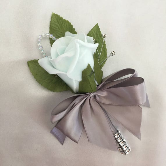 Artificial Wedding Flowers, Buttonhole, Boutonnieres, Ladies Corsage, Mint Green Roses with crystals and diamantes