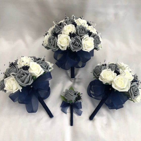 Artificial Wedding Flowers, 1 Brides Bouquet, 2 Bridesmaids Bouquets, 1Buttonhole, Grey, Ivory Roses, pearls loops, navy blue babies breath