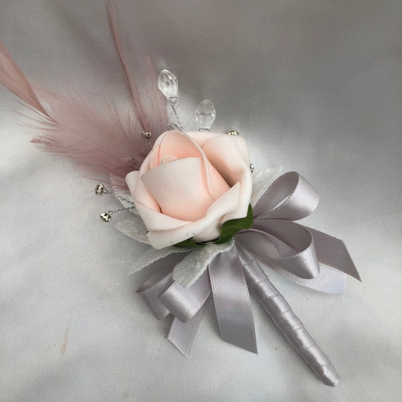 Artificial Wedding Flowers, Ladies Buttonhole, Boutonniere, Corsage, Baby Pink Roses, Mink Feathers, Diamantes and Crystals