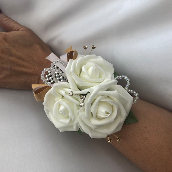 Artificial Wedding Flowers, Ladies Wrist Corsage, Buttonholes, Boutonnieres, Ivory Roses with crystals and gold diamantes, silver wrist band