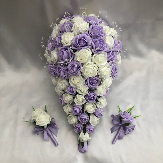 Artificial Wedding Flowers, Brides Teardrop Bouquet with 2 Buttonholes, Boutonnieres, Ivory and Lilac Roses, Crystal Sprays