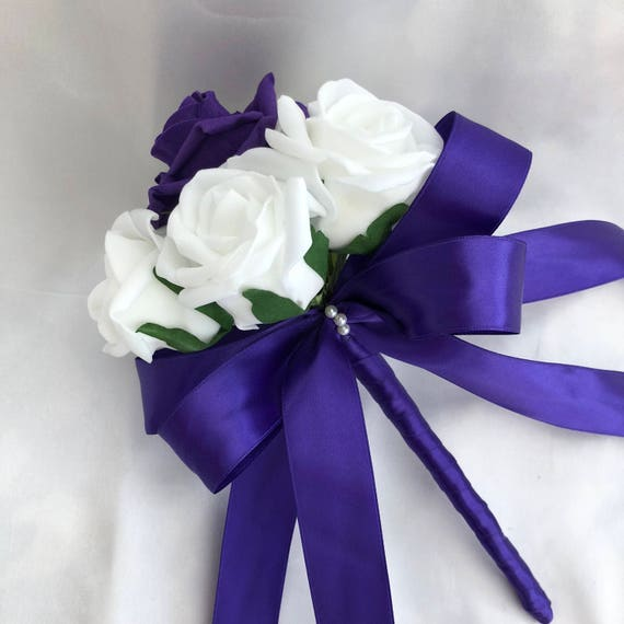 Artificial Wedding Flowers, Brides, Bridesmaids, flower girls Posy Bouquet with White and Purple Roses Roses, Purple Satin ribbon