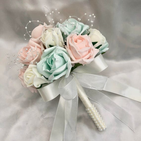 Artificial Wedding Flowers, Brides, Flowergirls, Bridesmaids, Posy Bouquet with Baby Pink, Mint Green & Ivory Roses, pearls