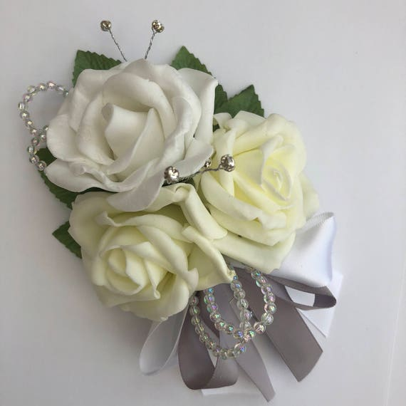 Artificial Wedding Flowers, Buttonholes, Boutonnieres, Ladies Corsage, Lemon and White Roses with crystals and diamantes