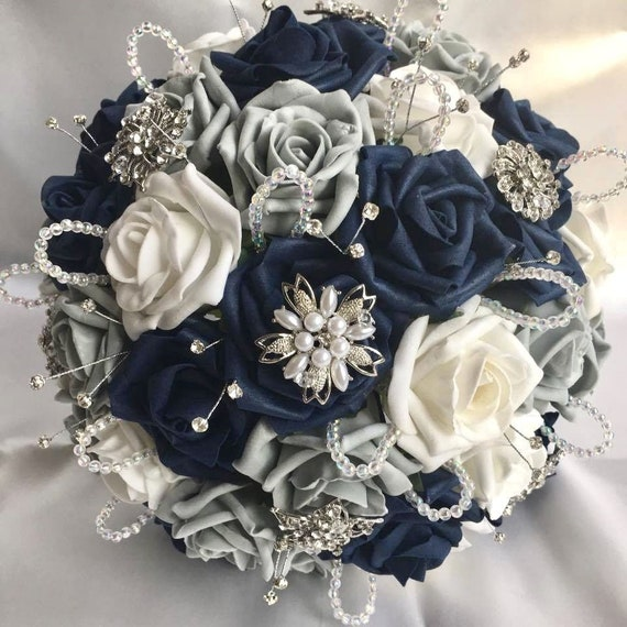 Artificial Wedding Bouquet, Brides Posy Bouquet with Navy Blue, Grey and White Roses with brooches, crystals and diamantes