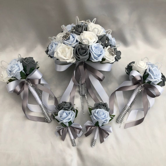 Artificial Wedding Flower Package, Brides Posy Bouquet, 2 x Flower girls Posies, 2 x Buttonholes, Baby Blue, Grey and White Roses