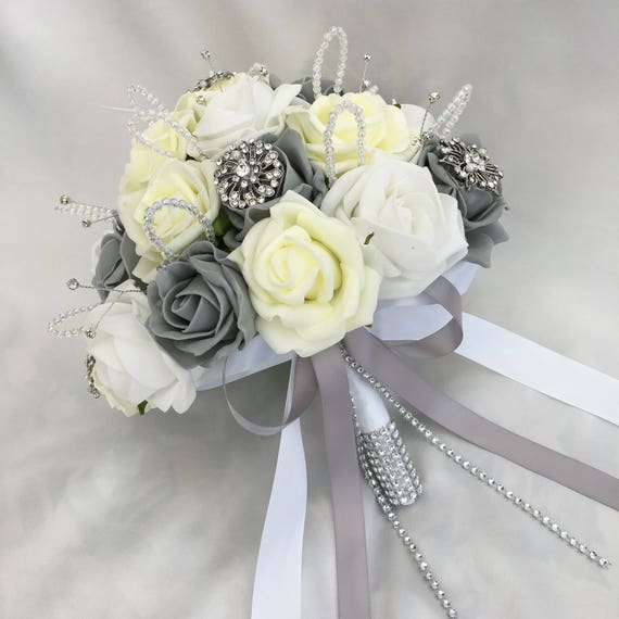 Artificial Wedding Flowers, Brides Posy Bouquet with Lemon, Grey and White Roses with brooches, crystals and diamantes