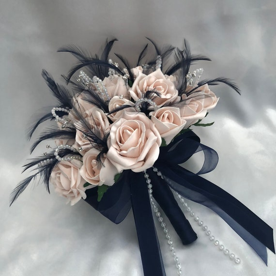 "Artificial Wedding Flowers, Brides, Bridesmaids, Posy Bouquet with Mocha Pink Roses, Navy Blue Feathers, Diamantes, ""ANY COLOUR AVAILABLE"""