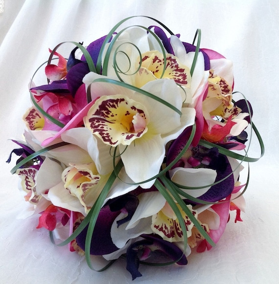 Artificial Wedding Flowers, Brides, Bridesmaids, Flower girls Posy Bouquet with Purple, Pink and Cream Orchids, Beargrass