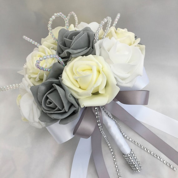 Artificial Wedding Flowers, Brides, Bridesmaids, Flower girls Posy Bouquet with Lemon, Grey and White Roses with crystal loops
