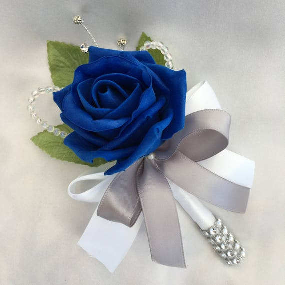Artificial Wedding Flowers, Buttonholes, Boutonnieres, Ladies Corsage, Royal Blue Roses with crystals and diamantes