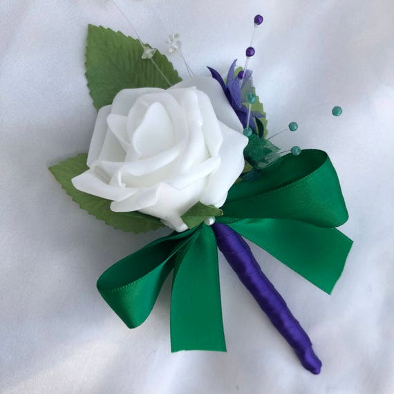 Artificial Wedding Flowers, Buttonholes, Boutonnieres, Ladies Corsage, White Roses, Purple and bottle green Babies Breath, Crystal Sprays