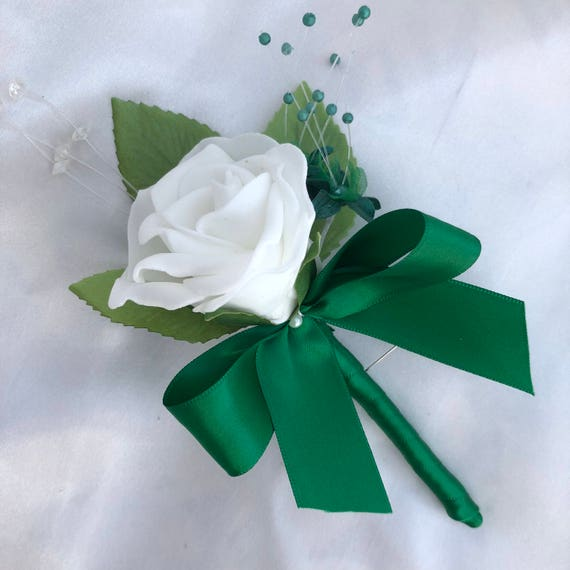Artificial Wedding Flowers, Buttonholes, Boutonnieres, Ladies Corsage, White Roses, Bottle Green Babies Breath, Crystal Sprays, Satin ribbon
