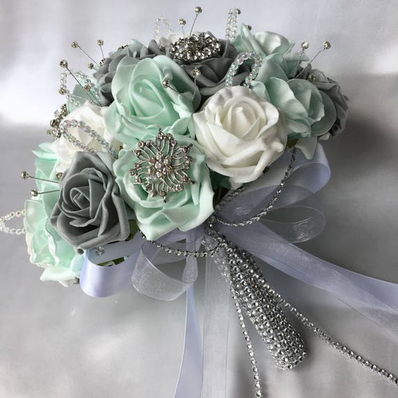 Artificial Wedding Flowers, Brides Posy Bouquet with Mint Green, Grey and White Roses with brooches, crystals and diamantes