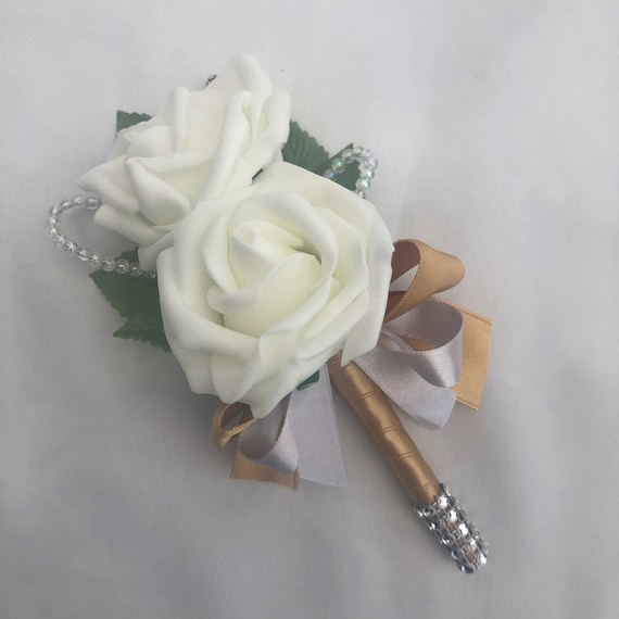 Artificial Wedding Flowers, Buttonholes, Boutonnieres, Ladies Corsage, Ivory Roses with crystals and gold diamantes