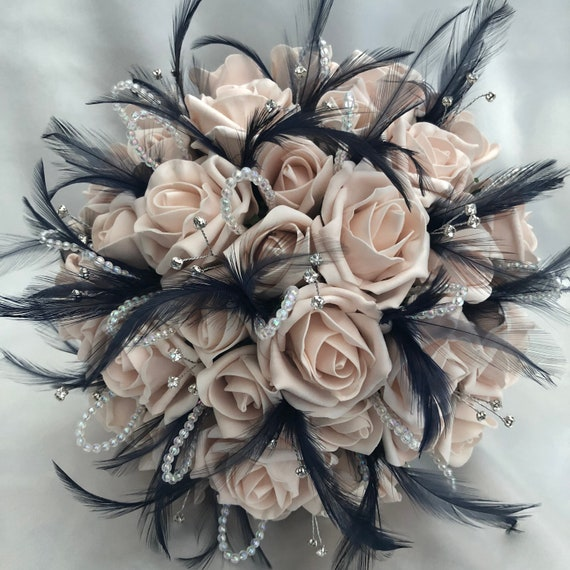 "Artificial Wedding Bouquet, Brides, Bridesmaids, Posy Bouquet with Mocha Pink Roses, Navy Blue Feathers, Diamantes, ""ANY COLOUR AVAILABLE"""