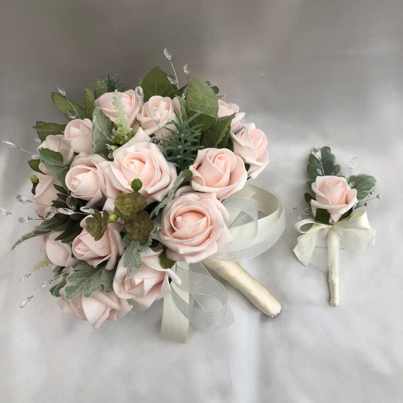 Artificial Wedding Flowers, Brides or Bridesmaids Posy Bouquet + 1 Single Rose Buttonhole, Baby Pink Roses, Light Green foliage, Crystals