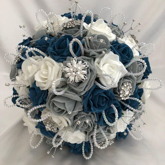 Artificial Wedding Bouquet, Brides Posy Bouquet with Teal Blue, Grey and White Roses with brooches, crystals and diamantes