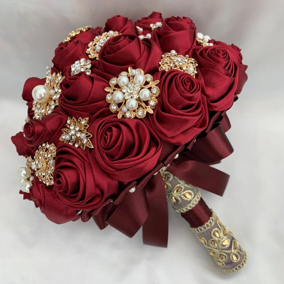 Brides Brooch Bouquet, Burgundy Red and Gold, Satin Roses, Unique Elegant Vintage Chic, Indian, Crystals, Pearls, Artificial Wedding Flowers
