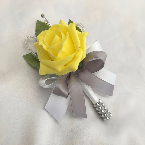 Artificial Wedding Flowers, Buttonholes, Boutonnieres, Ladies Corsage, Yellow Roses with crystals and diamantes